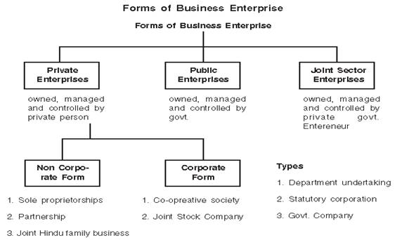Forms of Business Organisation class 11 Notes Business Studies